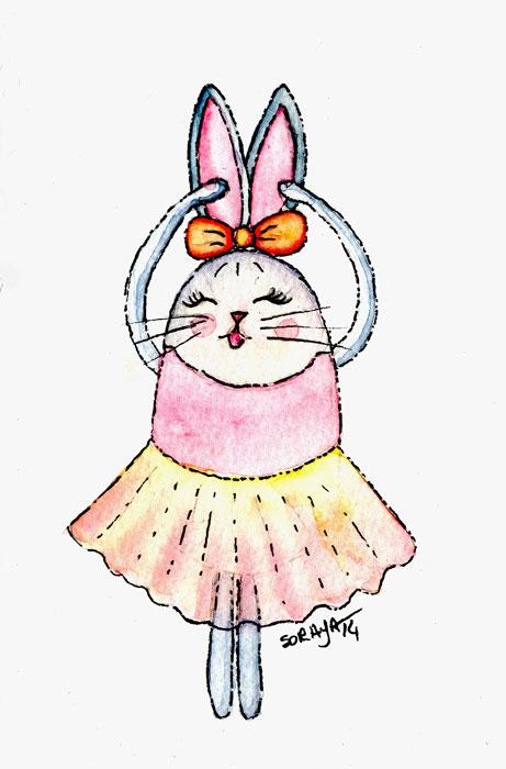 Ilustração infantil soraya pamplona aquarela coelha-bailarina-700