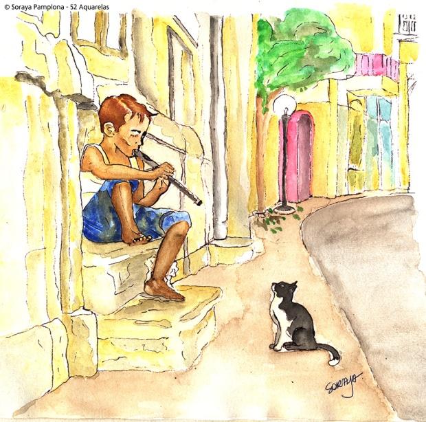flautista-e-gato ilustração aquarela soraya pamplona