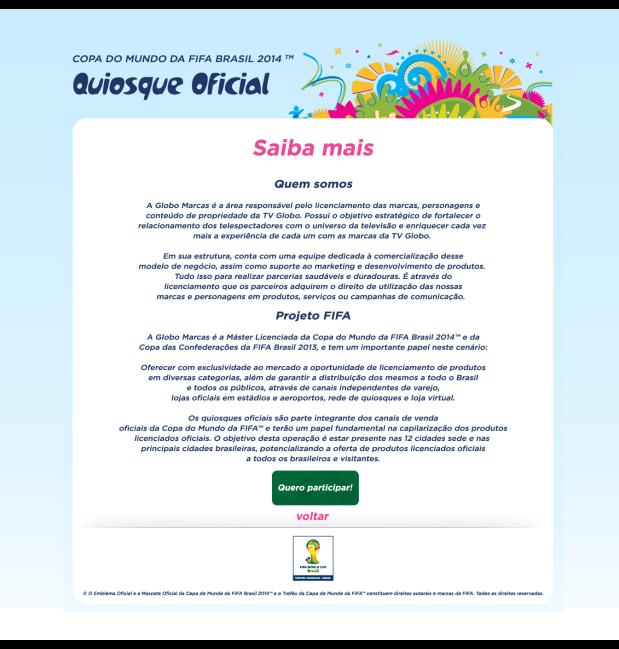 QUIOSQUE OFICIAL - Seja um operador licenciado de um Quiosque Oficial da Copa do Mundo da FIFA Brasil 2014 TM (1)