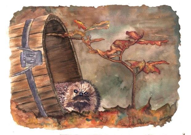 soraya pamplona ilustração aquarela ouriço-pigmeu-no-outono-web